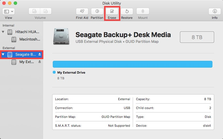 disk utility selections