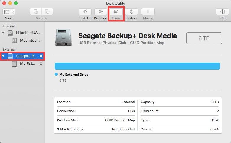 Disk Utility Erase Button