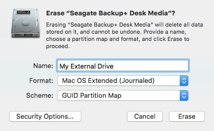 Disk Utility Erase Window