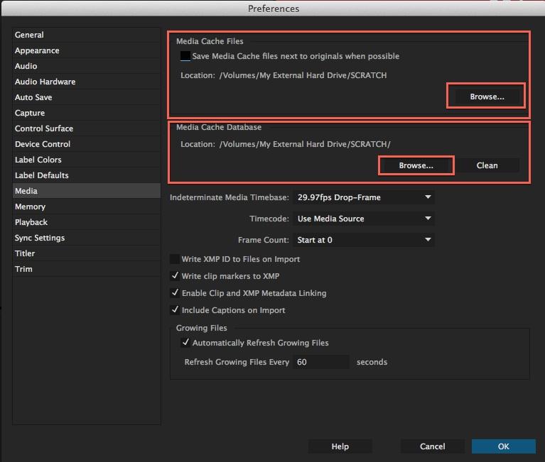 premiere - media cache settings