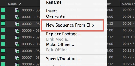right-click new sequence