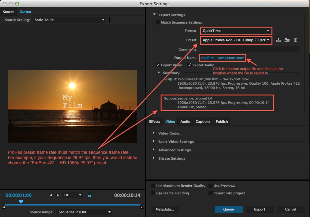 premiere - export window raw
